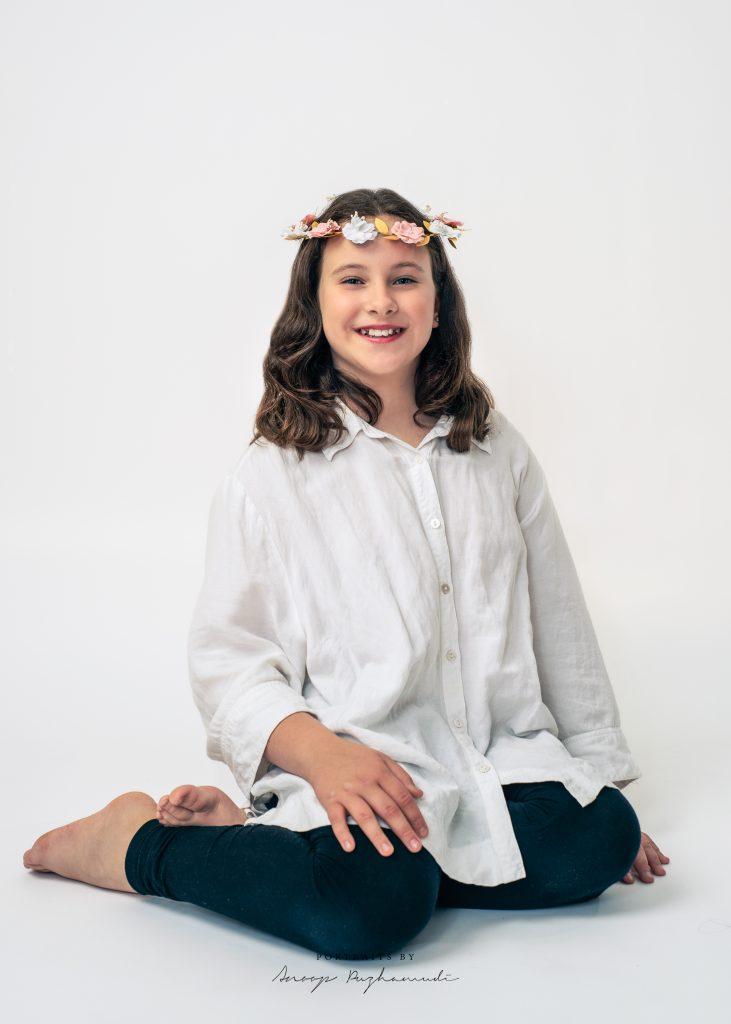Girl in white background