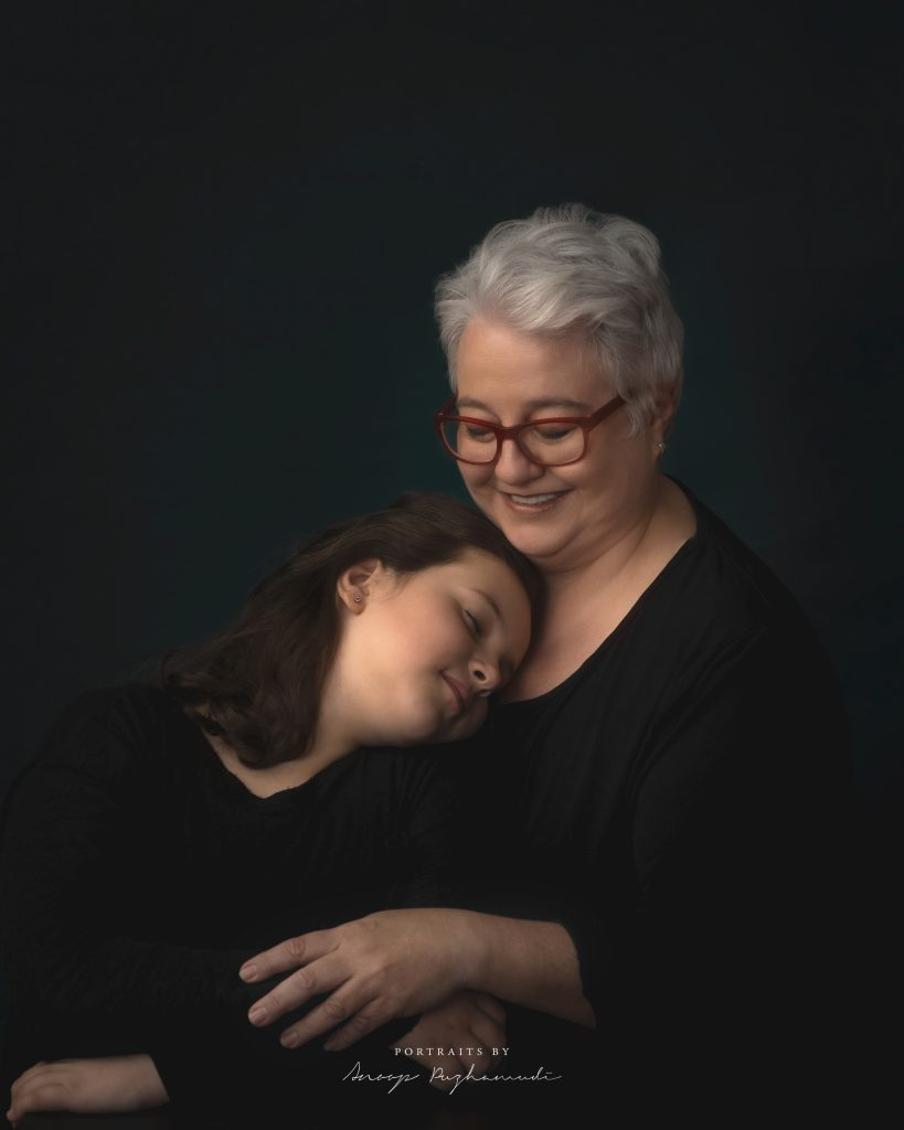 Beautiful mom and daughter portrait